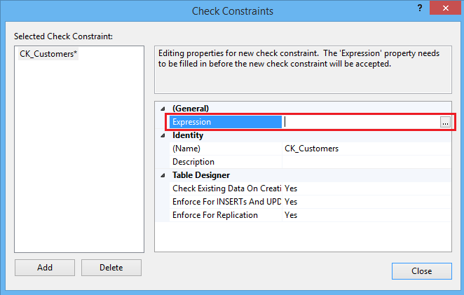 Check Constraints dialog box