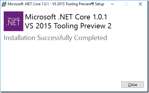 dotnet-core-install-success