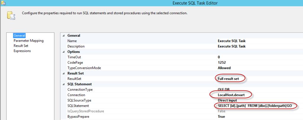 Figure 20. Execute SQL Task