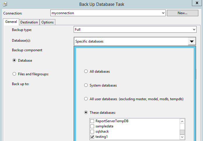 Figure 4. Selecting database and backup type