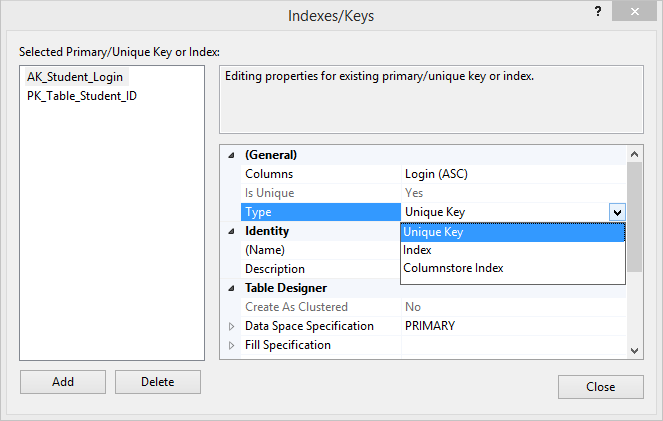 Indexes/Keys window