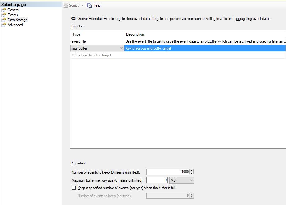 Data Storage tab