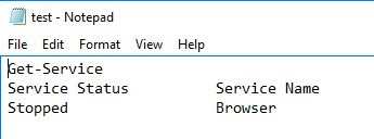 If we run the code, it will show the service status of the browser service in the test.txt file