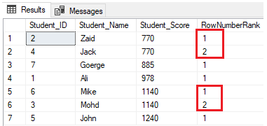 The rows will be distributed into four groups on each partition. For example, the first two rows with Student_Score equal to 770 will be in the same partition, and will be distributed within the groups ranking each one with a unique number