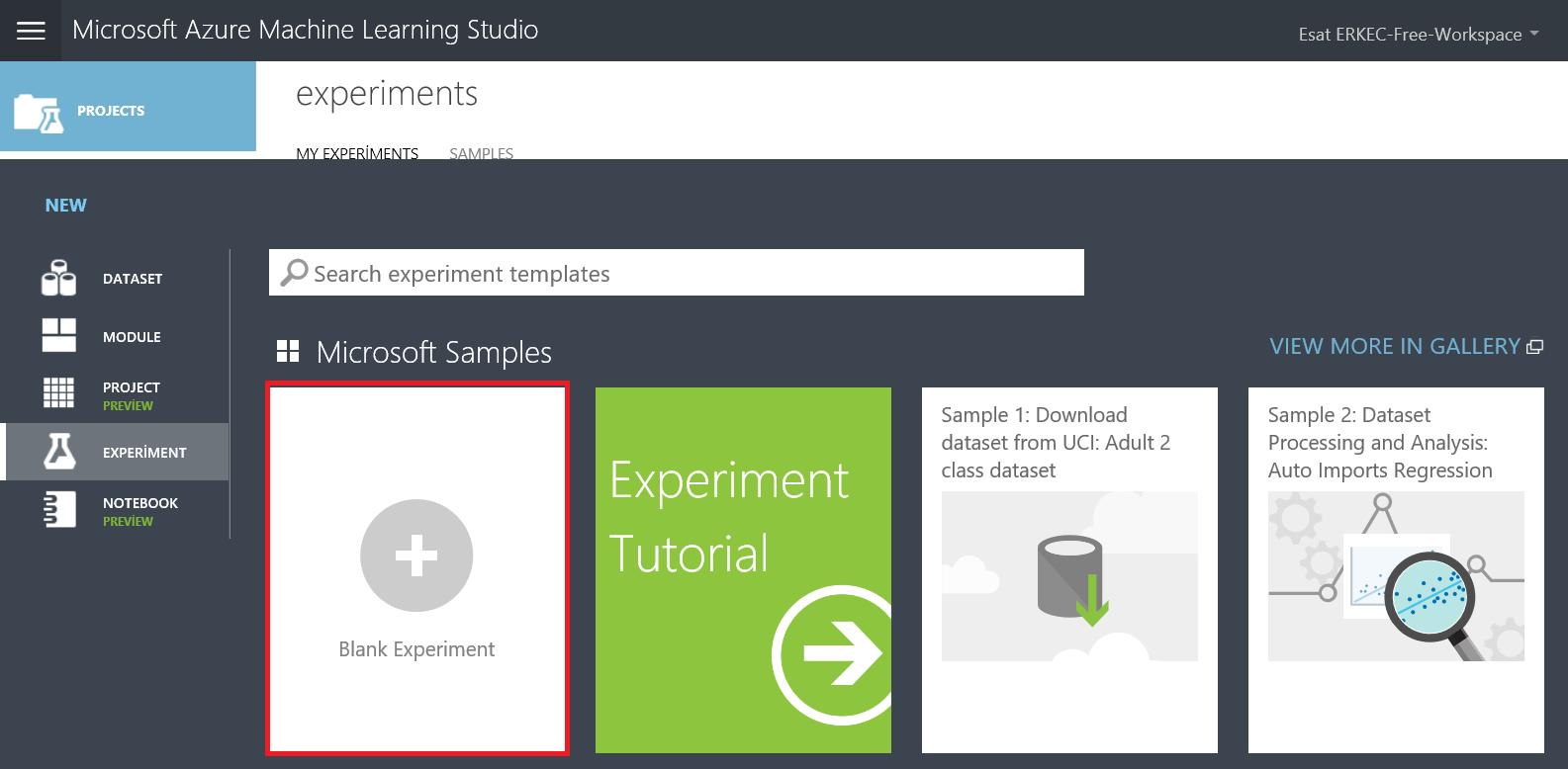 Experiments in Azure ML Studio