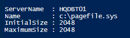 We can fetch the page file information using the Win32_PageFileSetting WMI class