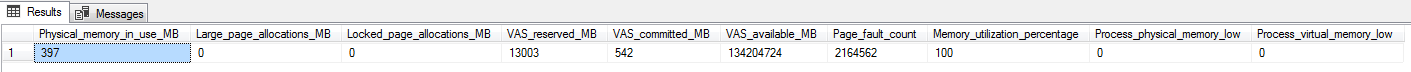 The output of the query that gives the high-level memory usage details of the SQL instance
