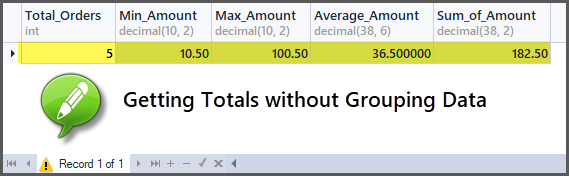 Getting totals without grouping data