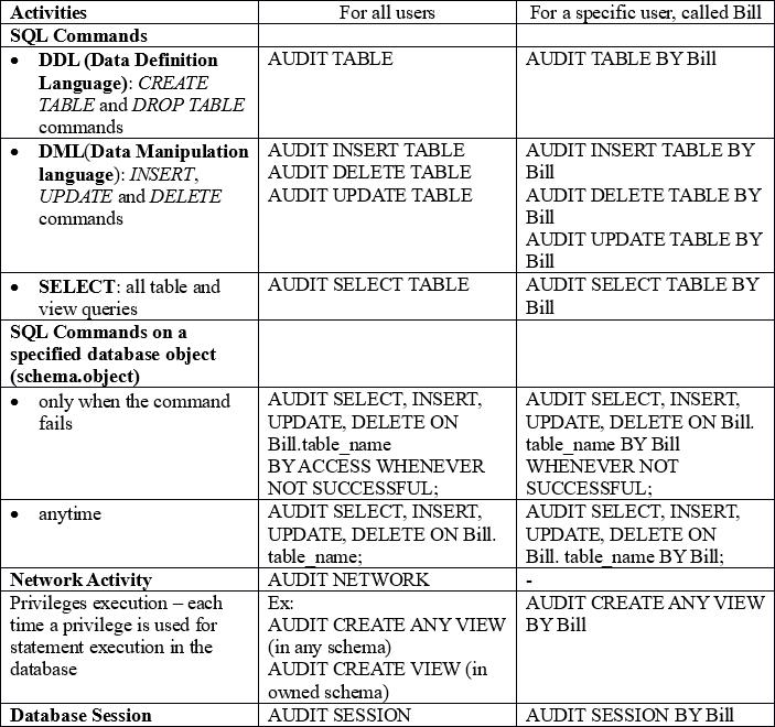 Oracle Database Security Database Auditing Coding Sight