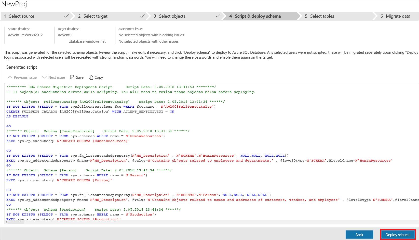 Generate SQL script