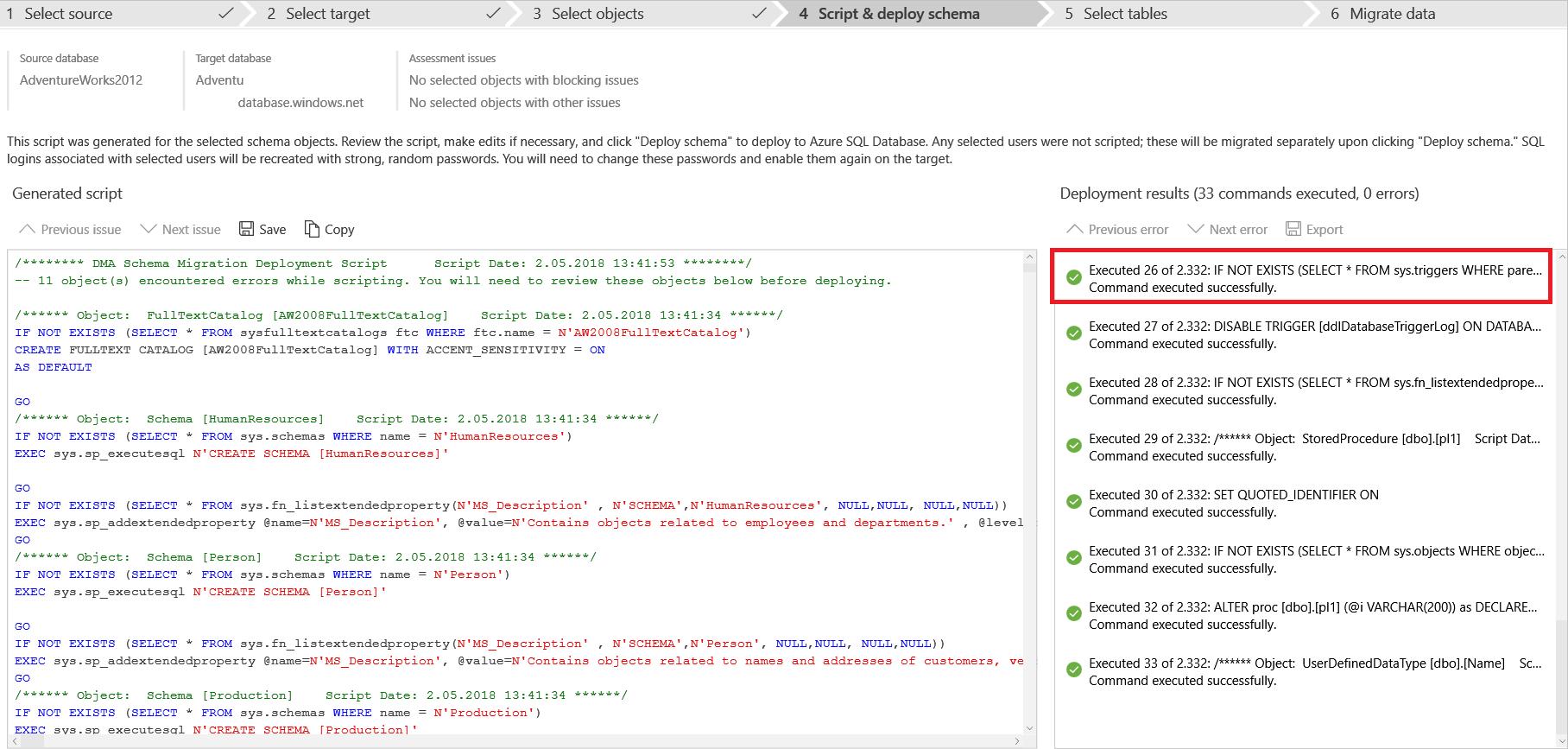Script & deploy schema