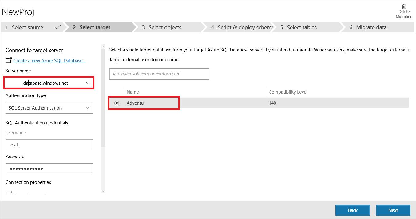 Select target database