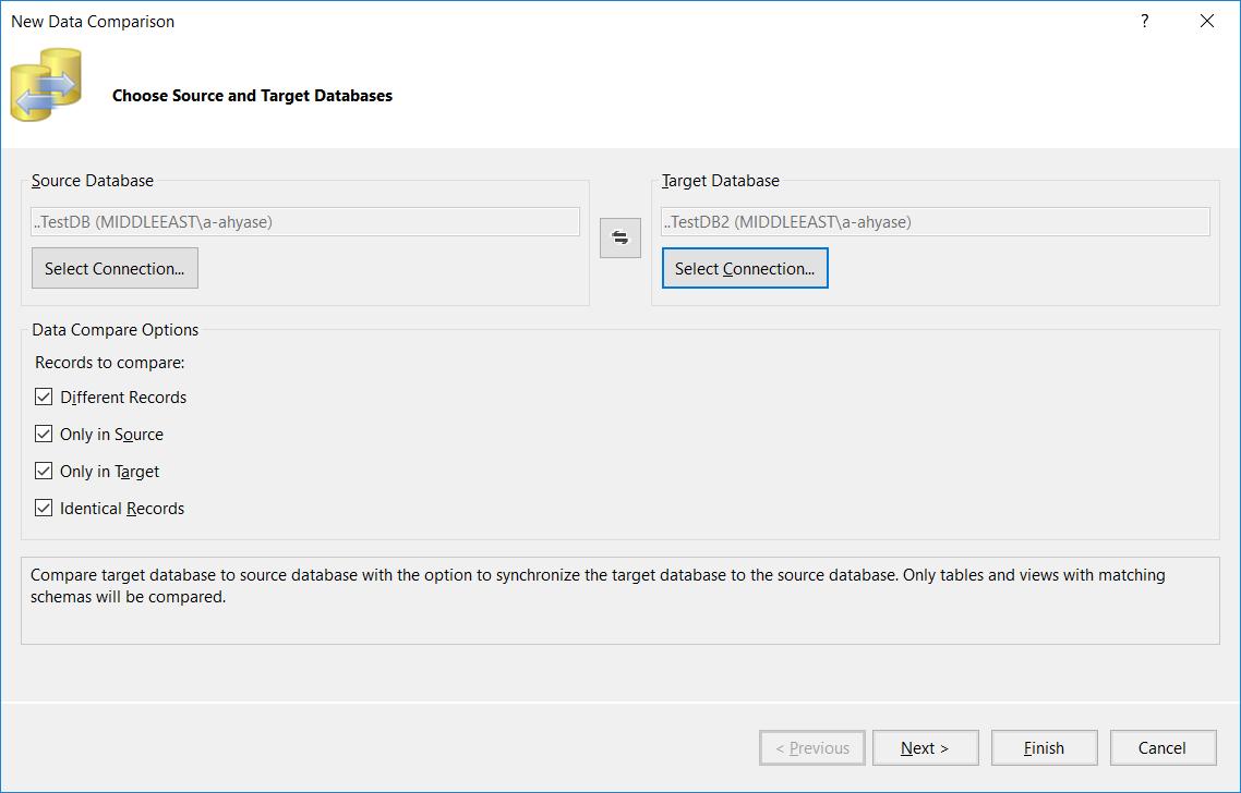New Data Comparison settings