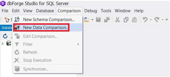 dbForge Studio for SQL Server - New Data Comparison option