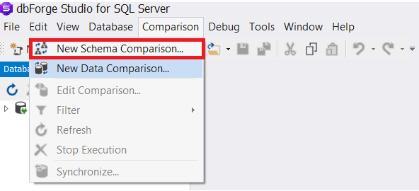 Compare Tables Schema Using dbForge Studio for SQL Server Third-Party Tool