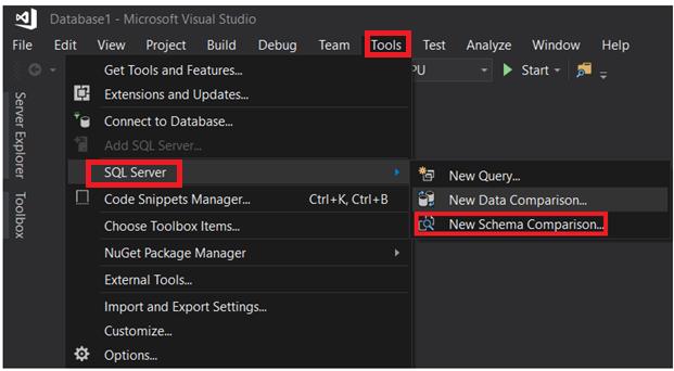 Compare Tables Schema Using SQL Server Data Tools