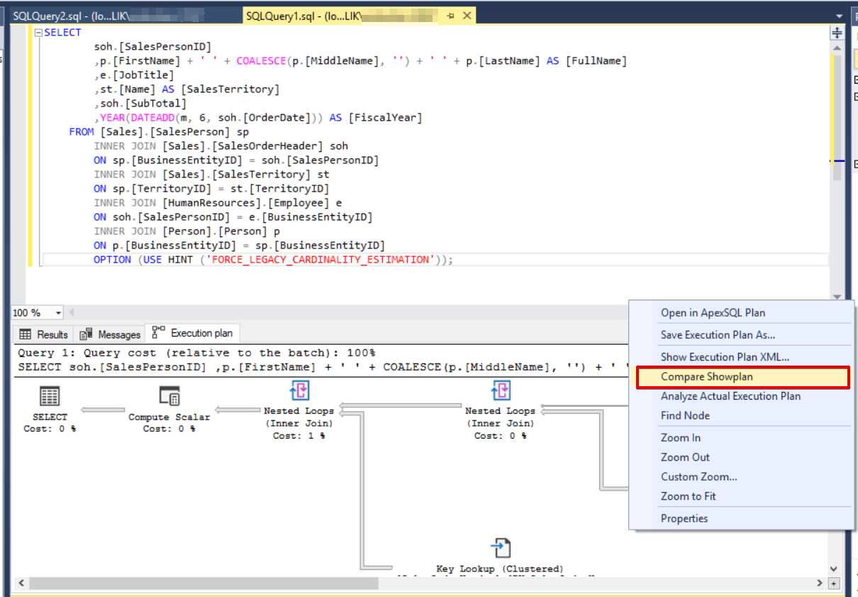 Compare Execution Plans in SQL Server | {coding}Sight