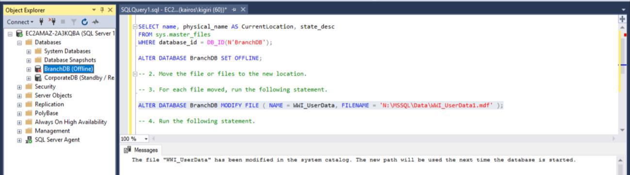 Fig. 2 Set Database Offline and Modify Catalog