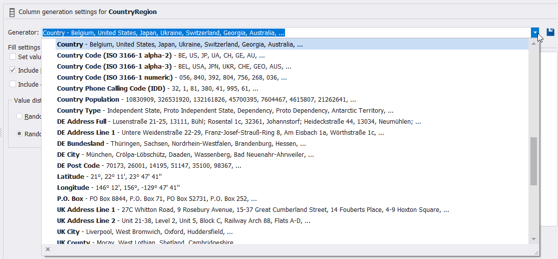 You can also specify the fully-described generator that can be used to generate the Country column values