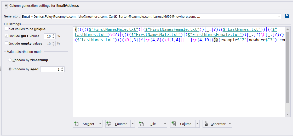 And customize the equation that will be used to generate the Email Address column values