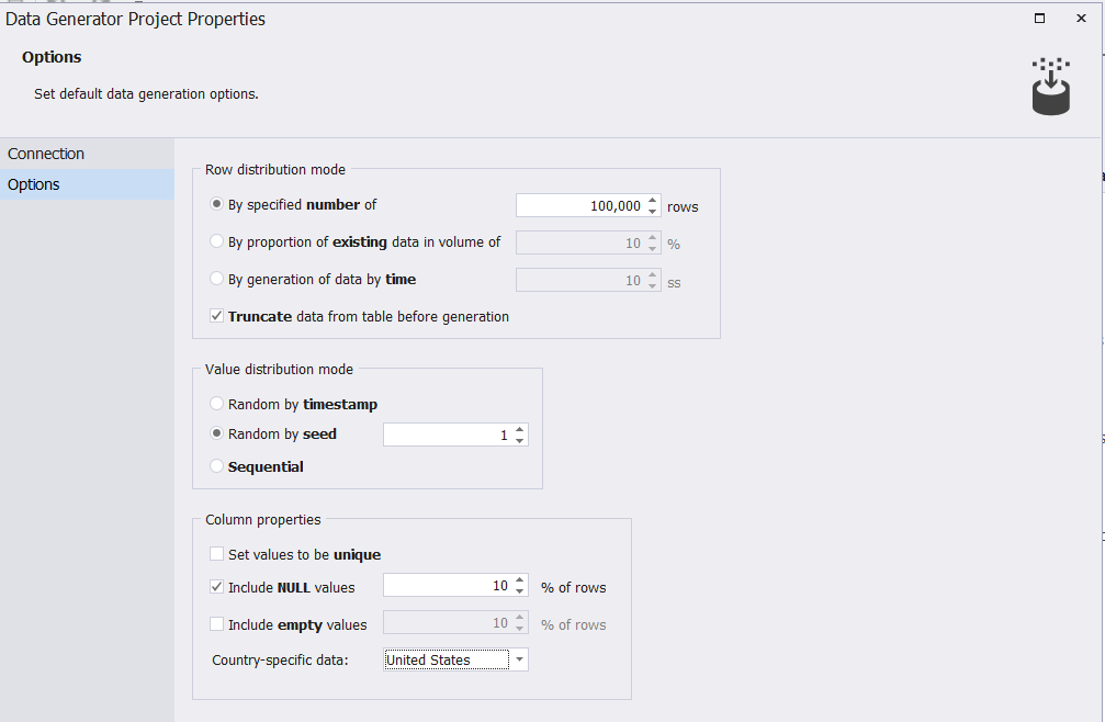 The Options window, you can specify the number of rows to be inserted into your table and other different options that control the generated testing data criteria