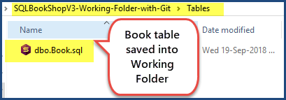 Book table saved into working folder