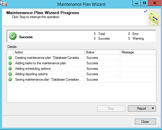 Maintenance Plan Wizard Progress