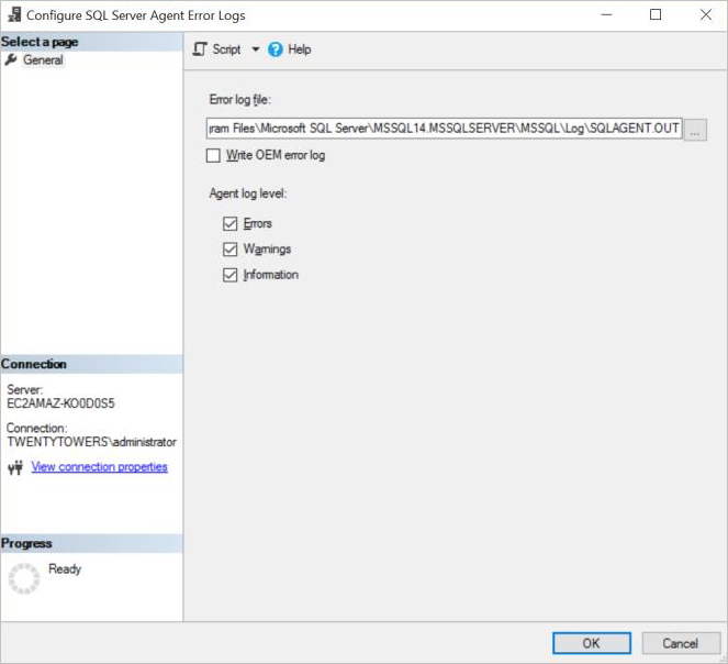 Configure error logs