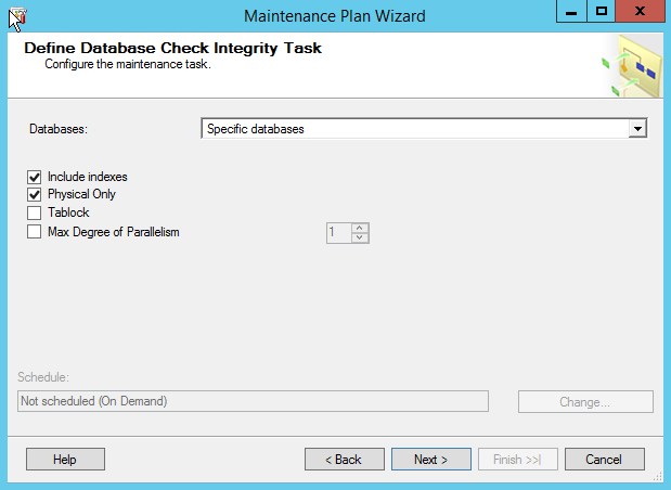 Define Database check integrity task