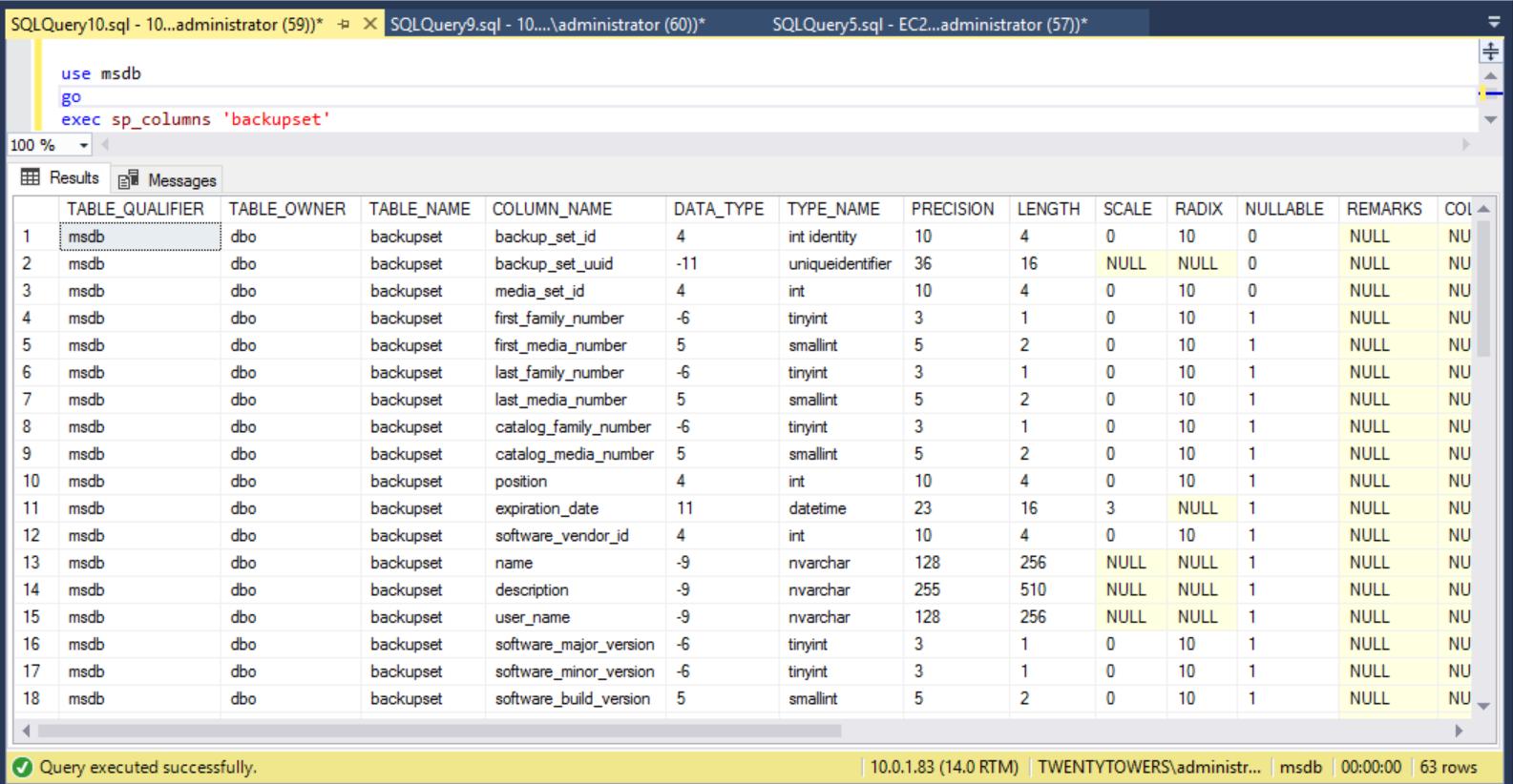 Describing msdb.dbo.backupset