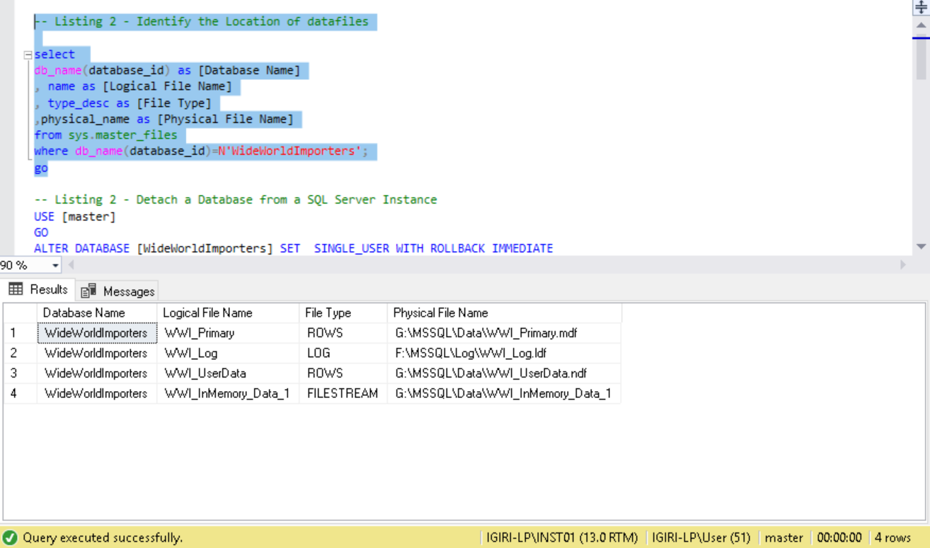 Move Datafiles in SQL Server