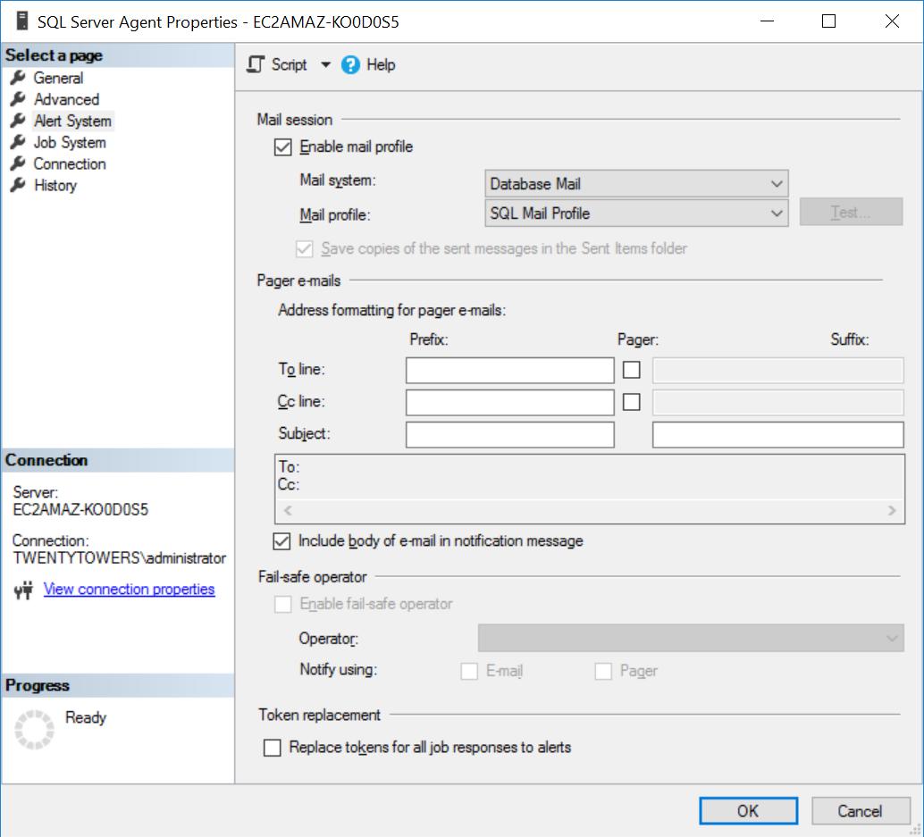 SQL Agent Settings