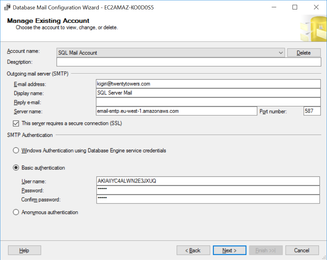 SQL Mail Account Settings