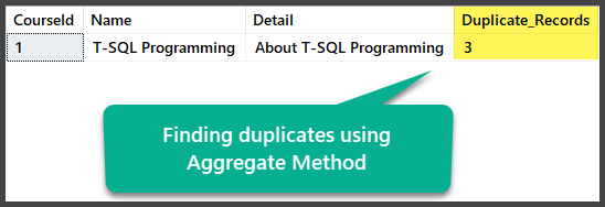 Finding duplicates using aggregates method