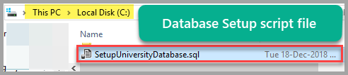 Database setup script file