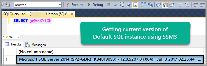 Default instance version using SSMS