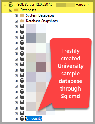 sample database through sqlcmd