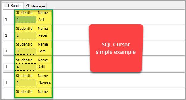 SQL cursor simple example