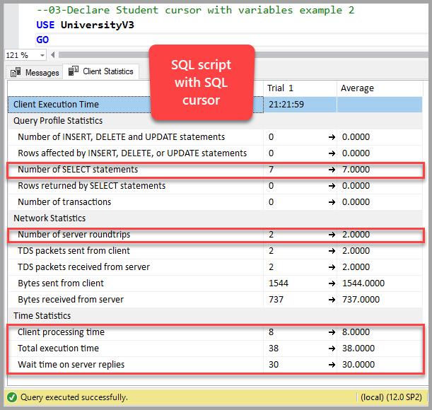 SQL script with SQL cursor