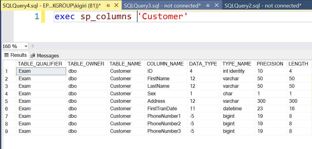 Structure of customer table