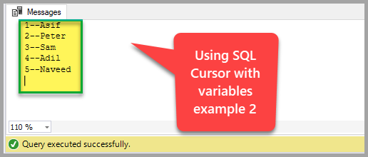 Using SQL cursor with variables