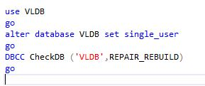 DBCC CheckDB repair_rebuild script