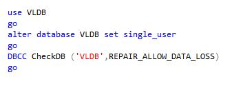 DBCC CheckDB REPAIR_ALLOW_DATA_LOSS