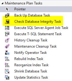 DBCC CheckDB check database integrity task