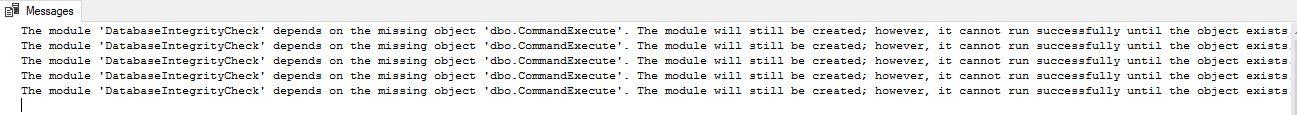 DBCC CheckDB custom stored procedure warning