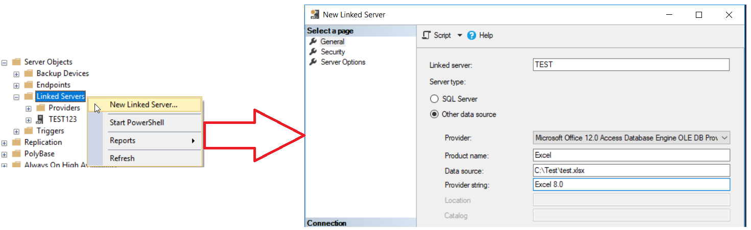 Create Linked Server