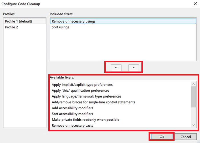 Visual Studio 2019 Code Cleanup Options 2
