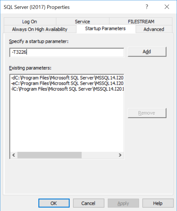 Adding trace flag 3226 as a startup parameter