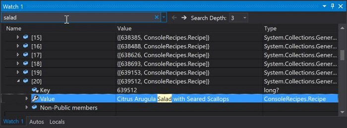 Visual Studio 2019 Debugger Search 1