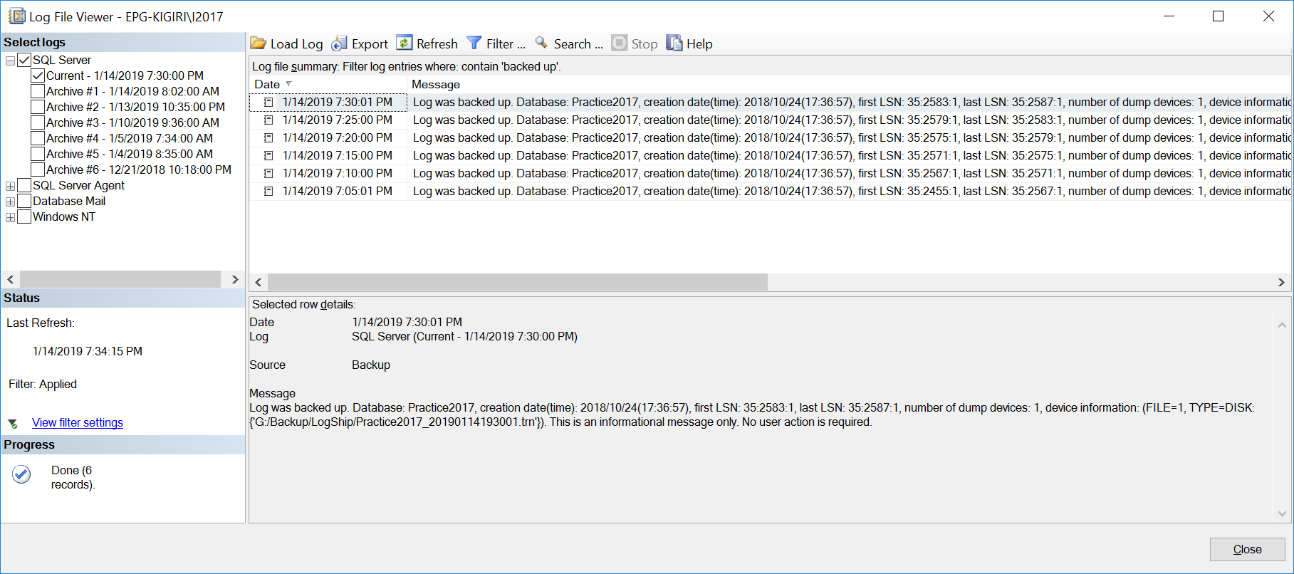 Log shipping backup entries in SQL Error Log
